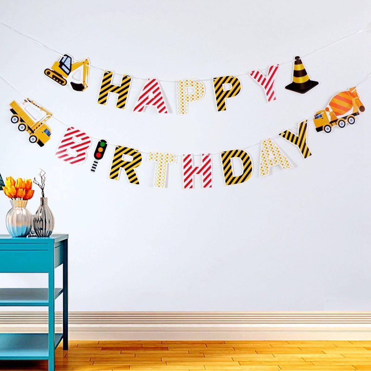 Dây chữ Happy Birthday mẫu Xe công trường