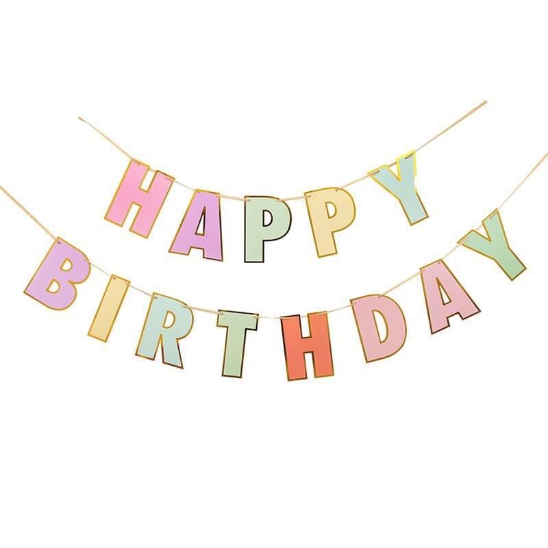 Dây chữ Happy Birthday nhiều màu Pastel