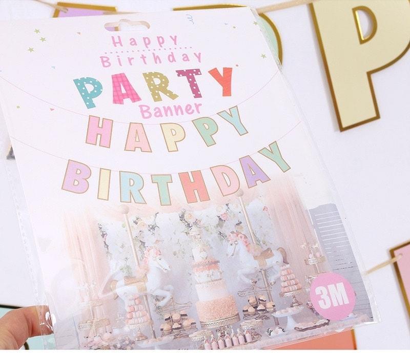 Dây chữ happy birthday đủ màu pastel 2m