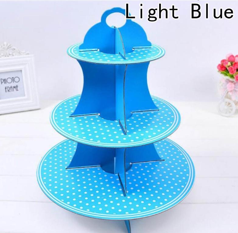 Kệ bánh cupcake 3 tầng chấm bi xanh