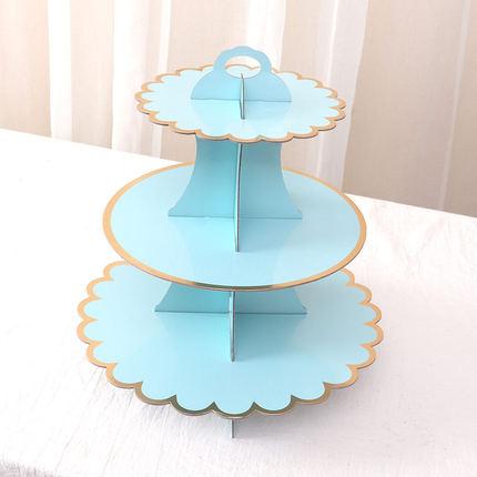 Kệ bánh cupcake 3 tầng màu pastel (vàng/xanh)