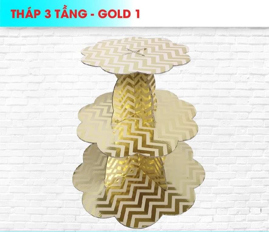 Kệ bánh cupcake 3 tầng ép kim sọc gãy (gold/silver)