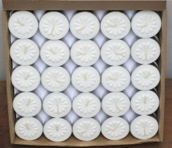 Hộp 100 nến tealight bông mai 3,5cm trắng