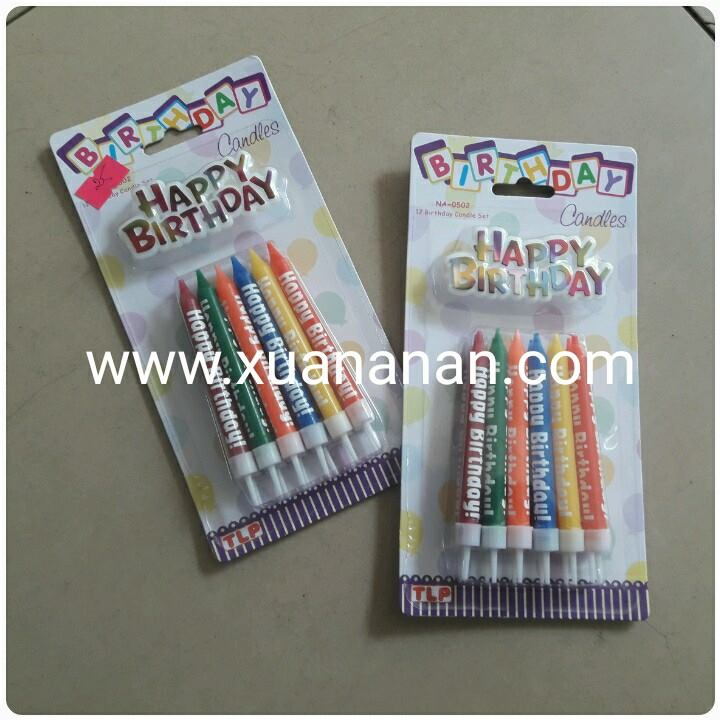 Vỉ 10 nến dài happy birthday
