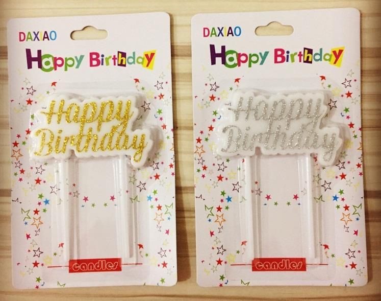 Nến chữ happy birthday nhũ vàng/bạc