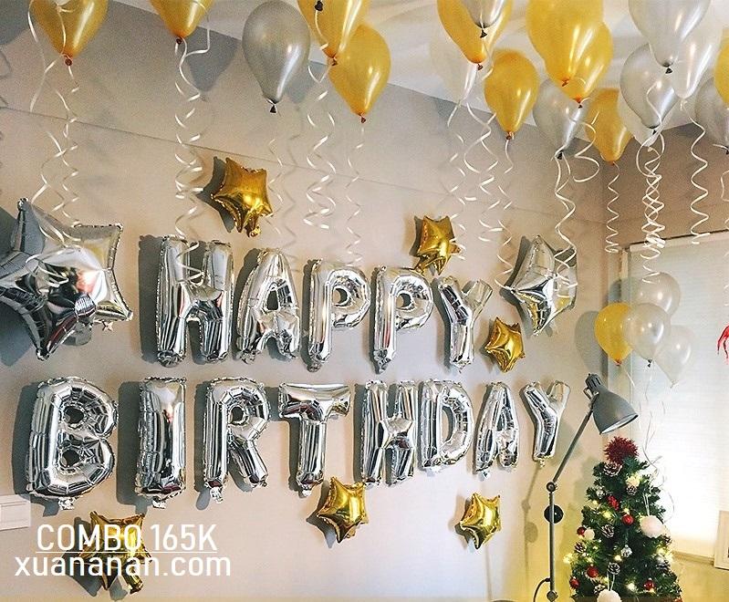 Combo trang trí sinh nhật tông màu Vàng - Bạc [165K]