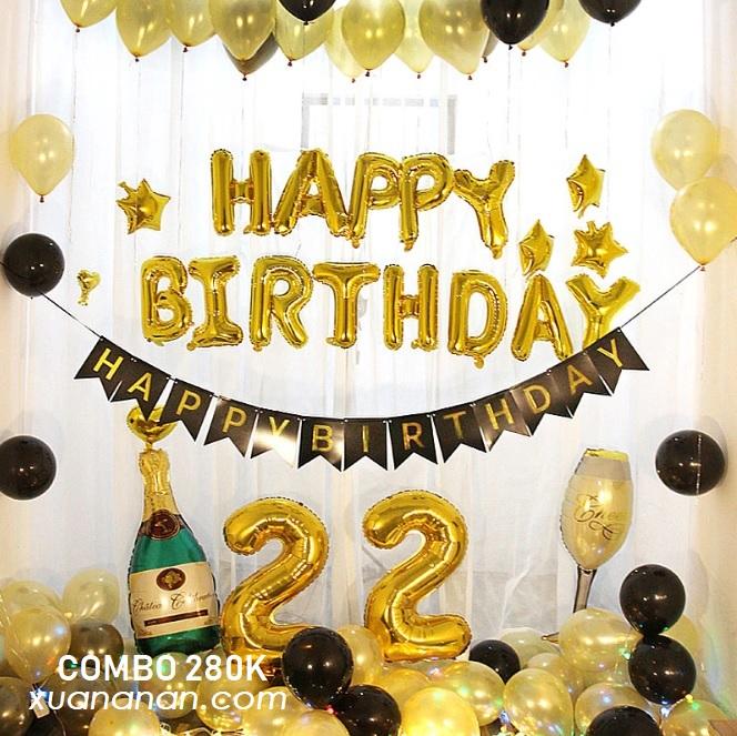 Combo trang trí sinh nhật tông Vàng Đồng - Đen [280k]
