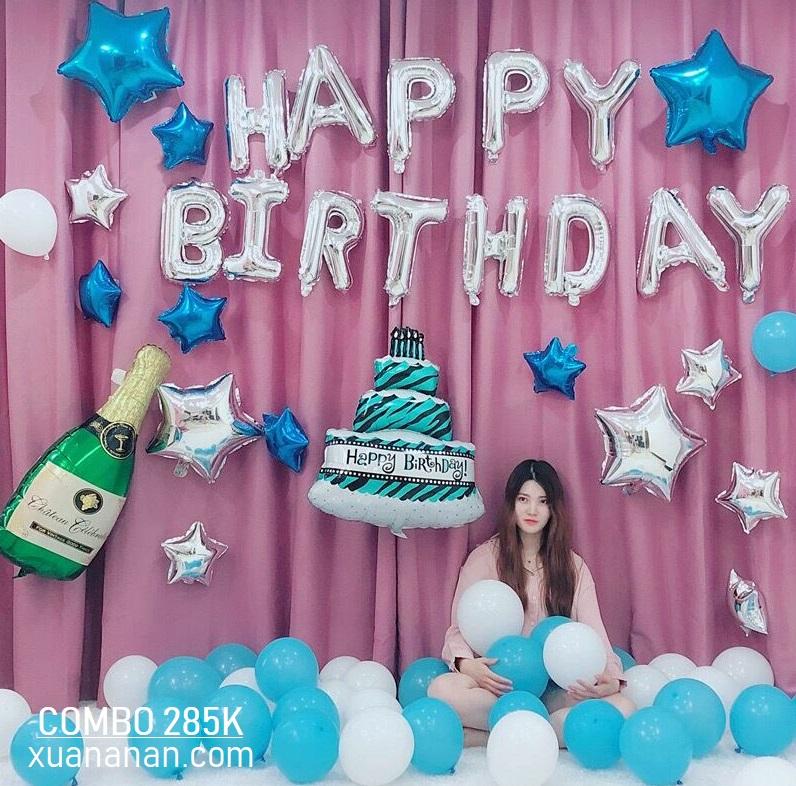 Combo trang trí sinh nhật tông màu Bạc - Xanh [285K]