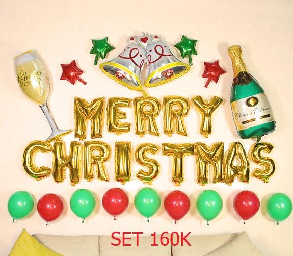 Set bong bóng kiếng Merry Christmas #5 *tặng keo dán