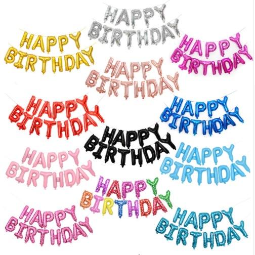 Set bong bóng kiếng chữ Happy Birthday (có 15 màu)