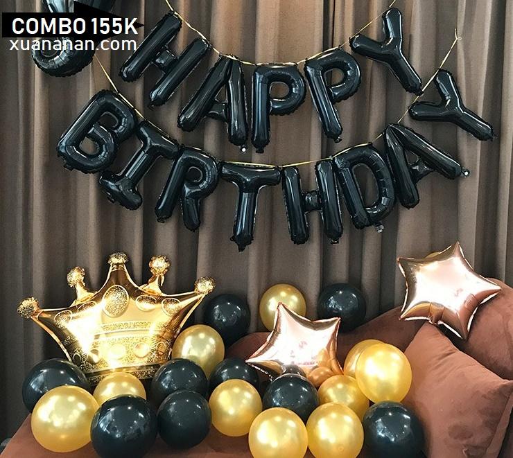 Combo trang trí sinh nhật tông màu Đen - Vàng [155K]