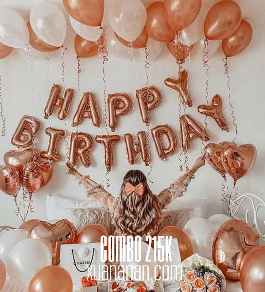 Combo trang trí sinh nhật tông màu Rosegold & White [215K]