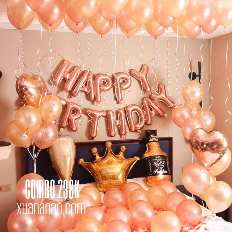 Combo trang trí sinh nhật tông màu Gold & Rosegold [238K]