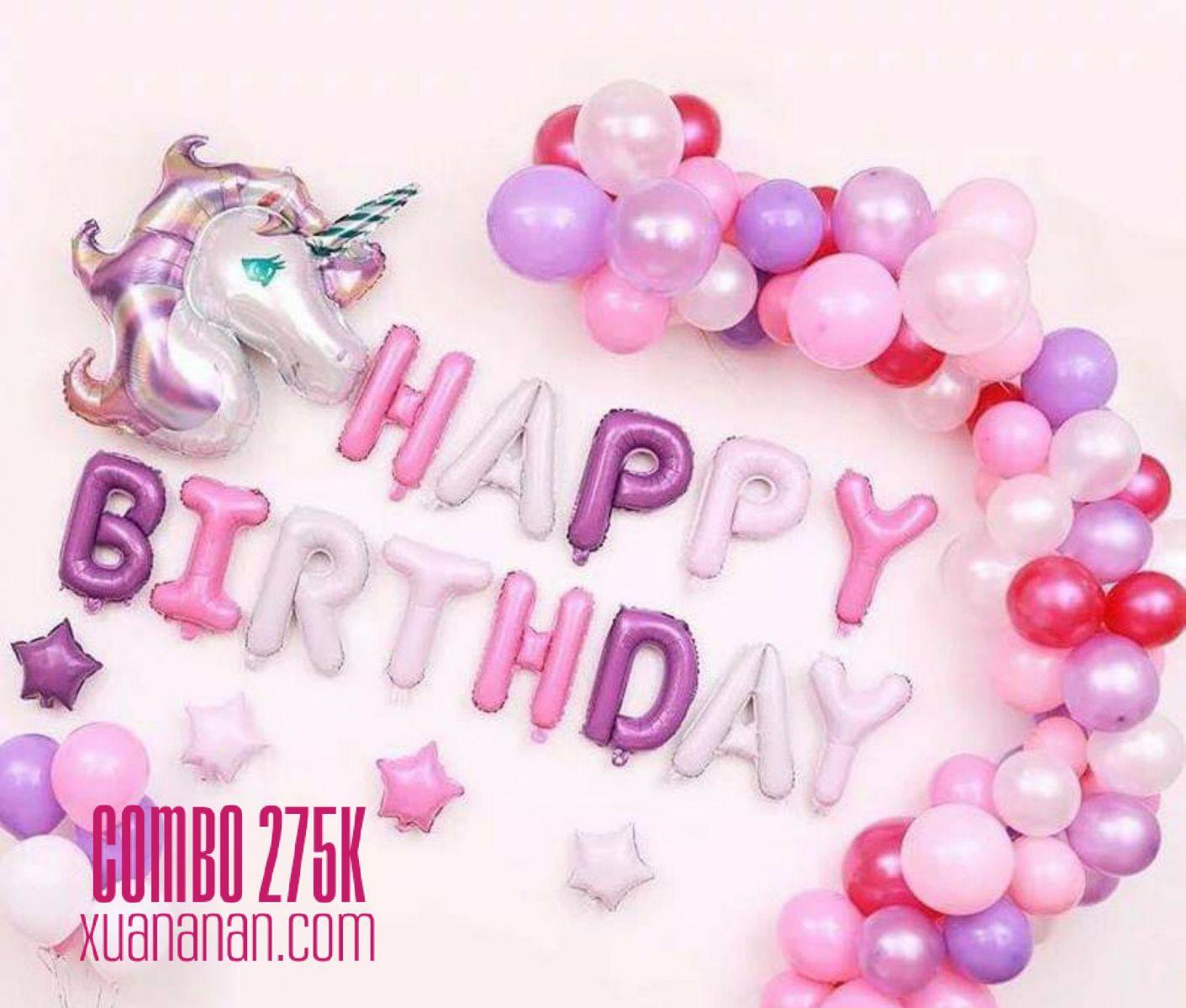 Combo trang trí sinh nhật tông Hồng Tím [275K]