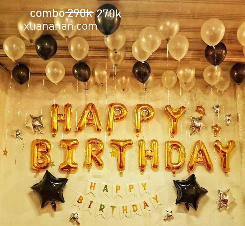 Combo trang trí sinh nhật tông vàng đen [270k]