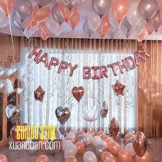 Combo trang trí sinh nhật tông màu Rosegold Silver [320K]