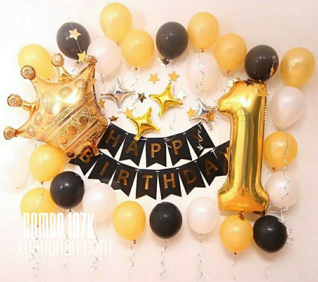 Combo trang trí sinh nhật Gold - Black [197K]