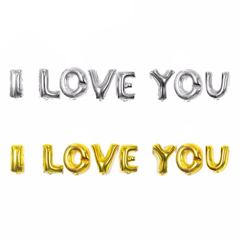 Set bong bóng kiếng chữ I LOVE YOU (xanh/hồng/vàng/bạc)