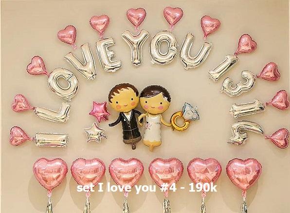 Set I love you #4 bong bóng kiếng trang trí 35 món