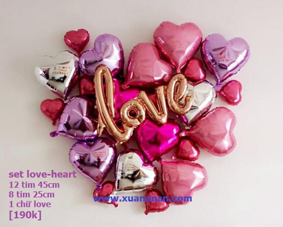 Set bong bóng kiếng Love-Heart 21 món (màu tùy chọn)