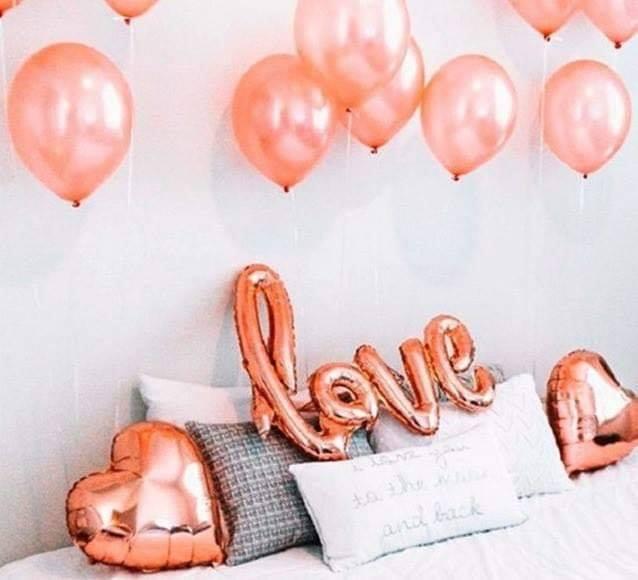 Set bong bóng kiếng chữ Love tông màu Rosegold 13 món