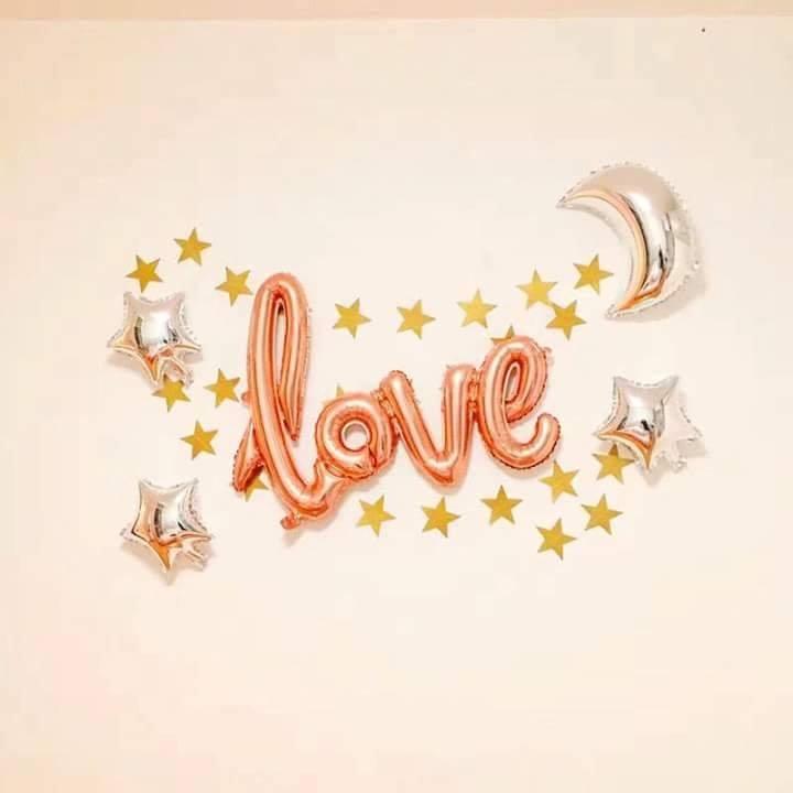 Set bong bóng kiếng chữ Love & Ngôi sao 6 pcs