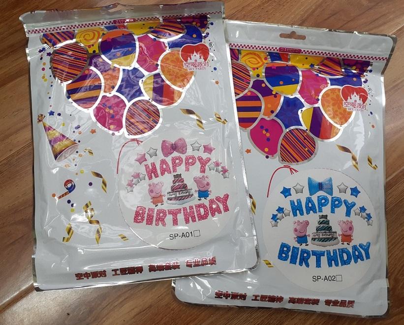 Set bong bóng trang trí sinh nhật Peppa (Hồng/Xanh)