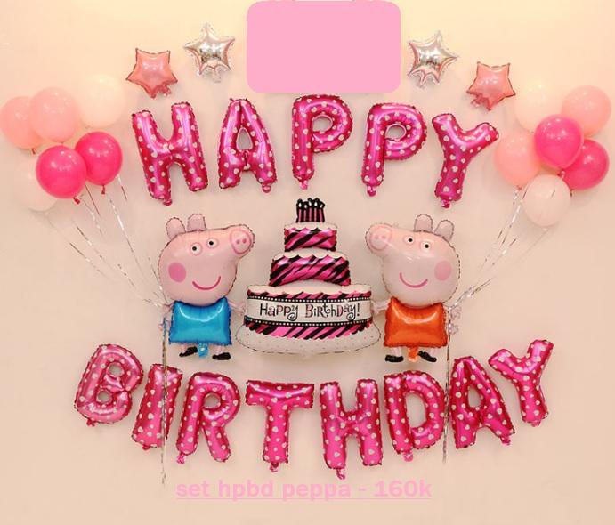Set bong bóng kiếng trang trí sinh nhật Peppa (hồng/xanh)