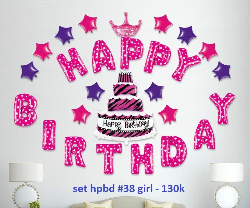Set bong bóng kiếng trang trí sinh nhật #38 (hồng/xanh)