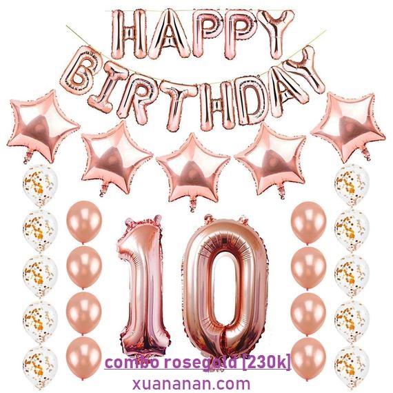 Combo trang trí sinh nhật tông màu Rosegold [230K]