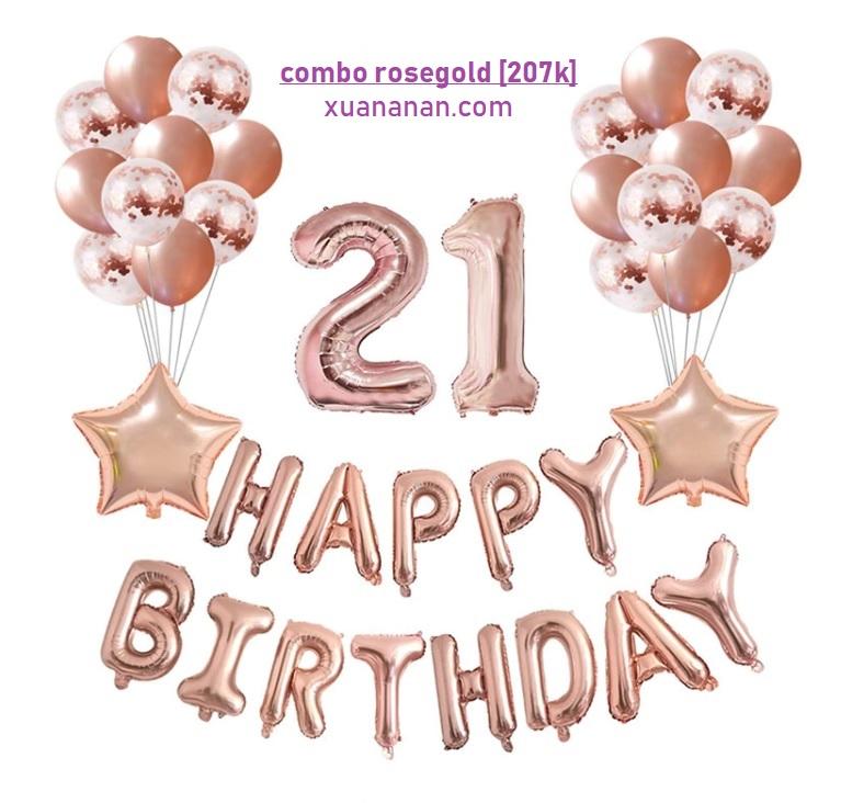 Combo trang trí sinh nhật tông màu Rosegold [207K]