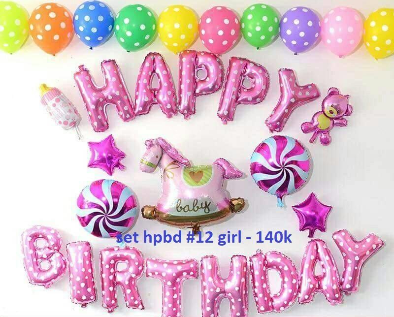 Set bong bóng kiếng trang trí sinh nhật #12 girl
