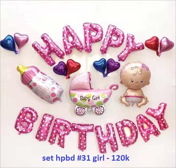 Set bong bóng kiếng trang trí sinh nhật #31 girl