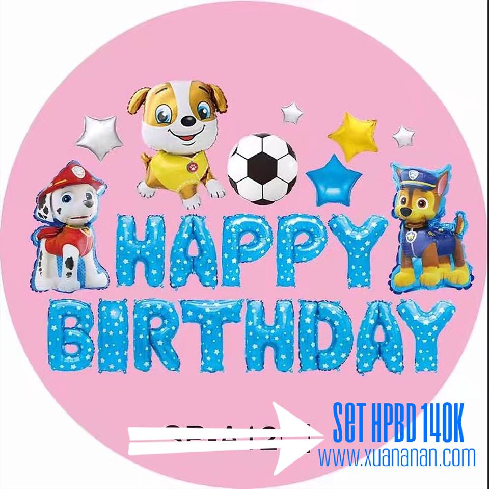 Set bong bóng kiếng trang trí sinh nhật Chó con + Banh (Xanh/Hồng)