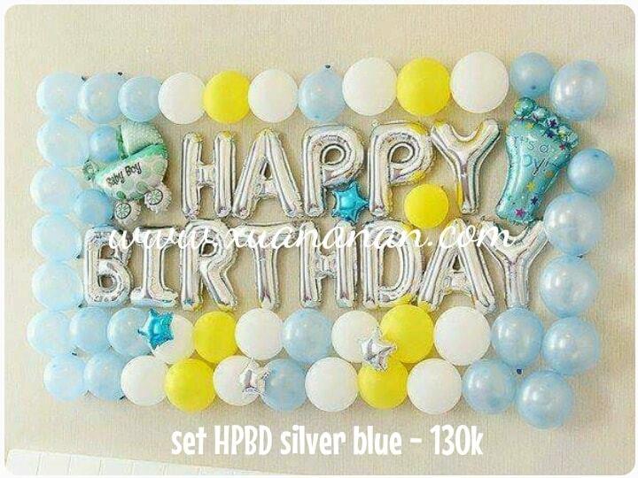 Set bong bóng kiếng trang trí sinh nhật Silver-Blue