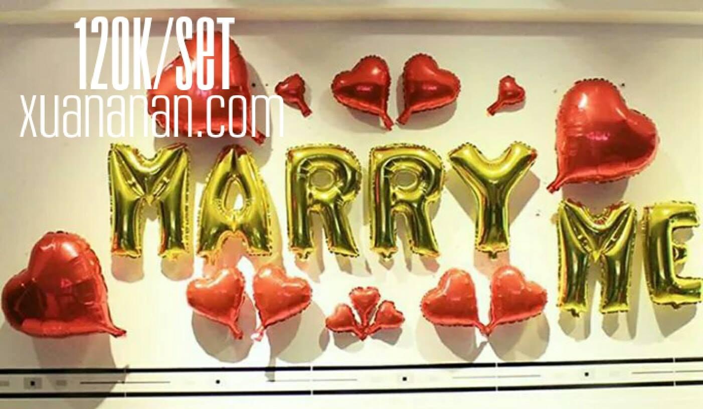 Set bong bóng kiếng trang trí Marry Me 120k