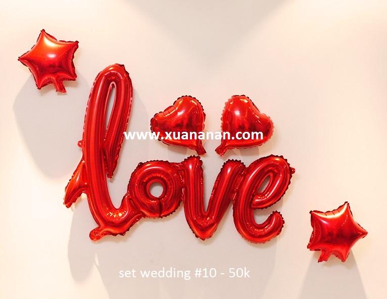 Set wedding #10 bong bóng kiếng trang trí 5 món
