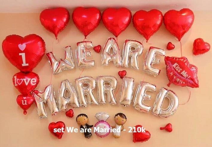 Set We are married #1 bong bóng kiếng trang trí 30 pcs