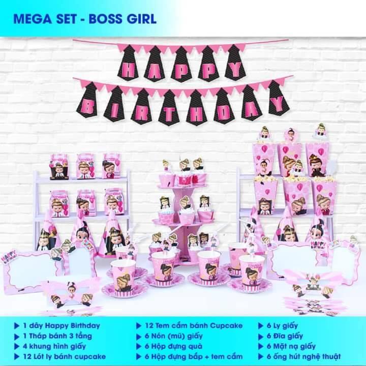 Set trang trí sinh nhật Boss Baby Girl