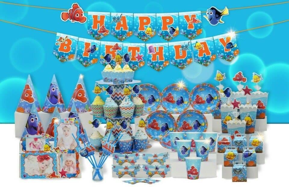 Set trang trí sinh nhật Nemo *tặng 20 bong bong nhũ cam 25cm