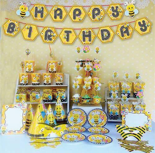 Set trang trí sinh nhật mẫu Ong vàng *tặng 1 bbk tròn HPBD 45cm