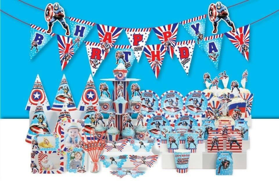 Set trang trí sinh nhật Captain American * tặng bong bóng kiếng Siêu Anh Hùng Mỹ cao 77cm