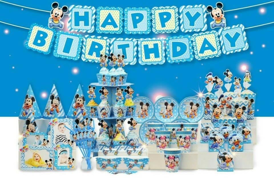 Set trang trí sinh nhật Mickey *tặng 20 bong bóng nhũ xanh
