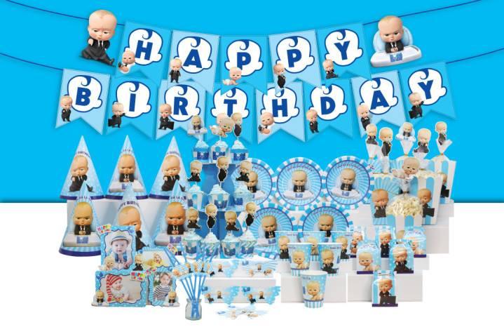 Set trang trí sinh nhật Boss Baby *tặng 20 bb nhũ xanh