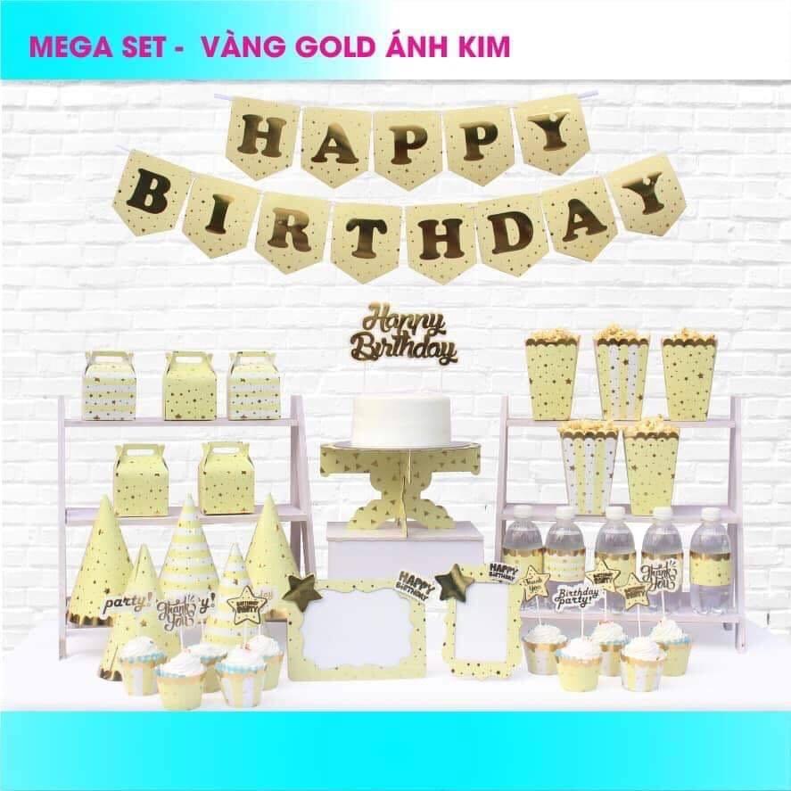 Set trang trí sinh nhật Vàng Gold ánh kim *tặng thêm 20 bb tròn nhũ