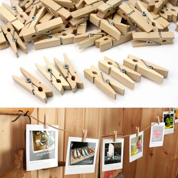 Set 20 kẹp gỗ dây treo màu gỗ mộc